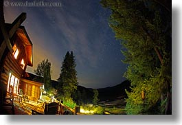 america, fisheye, fisheye lens, horizontal, idaho, lodge, long exposure, north america, red horse mountain ranch, scenics, stars, united states, photograph