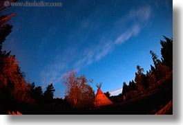 america, dusk, fisheye lens, horizontal, idaho, long exposure, north america, red horse mountain ranch, scenics, teepee, united states, photograph
