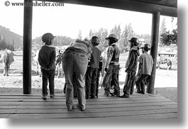 america, black and white, childrens, horizontal, idaho, north america, red horse mountain ranch, stables, united states, photograph