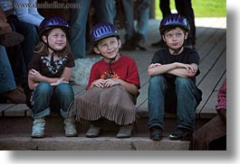 america, boys, childrens, clothes, girls, hats, helmets, horizontal, idaho, north america, people, red horse mountain ranch, stables, united states, photograph