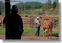 america, clothes, cowboy hat, hats, horizontal, horses, idaho, michelles, north america, people, red horse mountain ranch, stables, united states, watching, womens, photograph