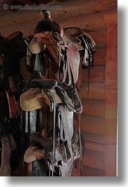 america, idaho, north america, red horse mountain ranch, saddles, stables, united states, vertical, photograph