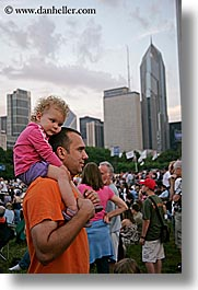america, blues festival, chicago, childrens, cityscapes, dads, girls, illinois, men, north america, shoulders, united states, vertical, photograph