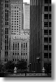 america, black and white, buildings, chicago, illinois, north america, tribune, united states, vertical, photograph