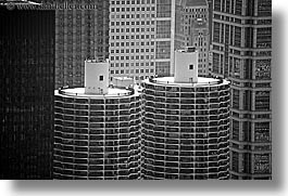 america, black and white, buildings, chicago, cob, corn, horizontal, illinois, north america, towers, united states, photograph