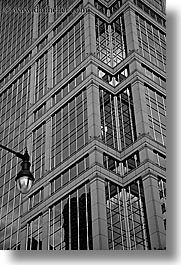 america, black and white, buildings, chicago, donnelley, illinois, lamp posts, north america, united states, vertical, photograph