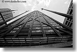 america, black and white, buildings, chicago, hancock, horizontal, illinois, john hancock, johns, north america, skyscrapers, towers, united states, photograph