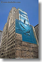 america, buildings, chicago, illinois, murals, north america, united states, vertical, whale, photograph