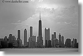 america, black and white, buildings, chicago, cityscapes, classic, clouds, horizontal, illinois, north america, united states, photograph