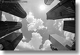 america, black and white, buildings, chicago, cityscapes, clouds, fisheye, fisheye lens, horizontal, illinois, north america, sun, united states, upview, photograph