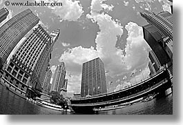 america, black and white, buildings, chicago, cityscapes, clouds, fisheye, fisheye lens, horizontal, illinois, north america, rivers, united states, photograph