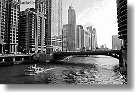 america, black and white, boats, buildings, chicago, cityscapes, horizontal, illinois, north america, rivers, united states, photograph