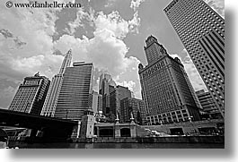 america, black and white, buildings, chicago, cityscapes, clouds, horizontal, illinois, north america, rivers, united states, upview, photograph