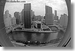 america, black and white, buildings, chicago, cityscapes, fisheye, fisheye lens, horizontal, illinois, north america, rivers, united states, photograph