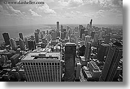america, black and white, buildings, chicago, cityscapes, clouds, horizontal, illinois, north america, south, united states, views, photograph