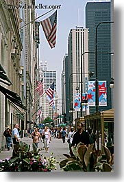 america, buildings, chicago, cityscapes, flags, illinois, north america, people, united states, vertical, photograph