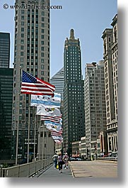 america, buildings, chicago, cityscapes, flags, illinois, north america, united states, vertical, photograph