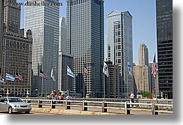 america, buildings, chicago, cityscapes, flags, horizontal, illinois, north america, people, united states, photograph
