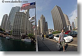 america, bridge, buildings, chicago, cityscapes, fisheye lens, flags, horizontal, illinois, men, north america, united states, walkers, photograph