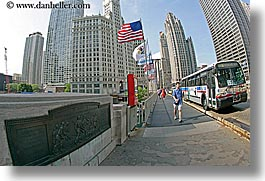 america, bridge, buildings, chicago, cityscapes, fisheye lens, flags, horizontal, illinois, north america, united states, walkers, photograph