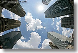 america, buildings, chicago, cityscapes, clouds, fisheye, fisheye lens, horizontal, illinois, north america, sun, united states, upview, photograph