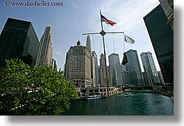 america, chicago, cityscapes, flags, horizontal, illinois, north america, rivers, united states, water, photograph
