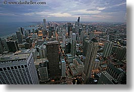 america, chicago, cityscapes, clouds, eve, evening, horizontal, illinois, north america, slow exposure, south, united states, views, photograph