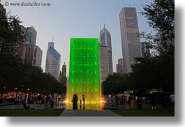 america, chicago, cityscapes, crown fountains, fountains, green, horizontal, illinois, millenium park, north america, united states, photograph
