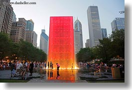 america, chicago, cityscapes, crown fountains, fountains, horizontal, illinois, millenium park, north america, red, united states, photograph