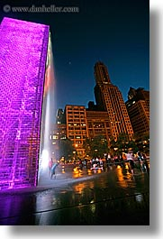 america, chicago, childrens, colorful, crown fountains, fountains, illinois, millenium park, nite, north america, people, slow exposure, united states, vertical, water, waterfalls, photograph