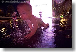 america, babies, boys, chicago, childrens, crown fountains, fountains, ftns, horizontal, illinois, jacks, millenium park, nite, north america, people, slow exposure, united states, water, photograph