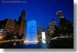 america, chicago, crown fountains, fountains, horizontal, illinois, millenium, millenium park, nite, north america, slow exposure, united states, water, photograph
