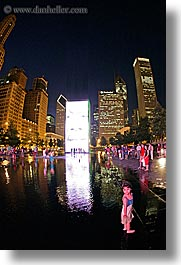 america, chicago, childrens, crown fountains, fisheye lens, fountains, illinois, millenium, millenium park, nite, north america, people, united states, vertical, water, photograph