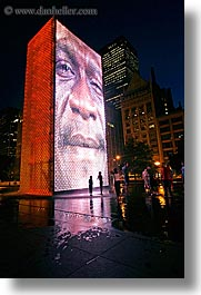 america, chicago, childrens, crown fountains, fountains, illinois, millenium park, nite, north america, people, slow exposure, united states, vertical, water, photograph