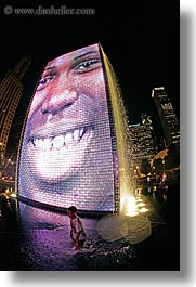 america, chicago, childrens, crown fountains, fisheye lens, fountains, illinois, millenium park, nite, north america, people, united states, vertical, water, photograph