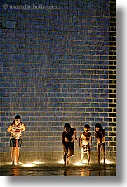 america, chicago, childrens, crown fountains, fountains, illinois, millenium park, nite, north america, people, united states, vertical, water, photograph