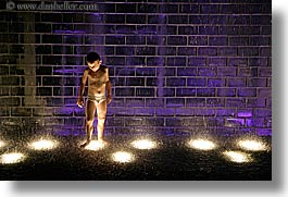 america, chicago, childrens, crown fountains, fountains, horizontal, illinois, millenium park, nite, north america, people, united states, water, photograph