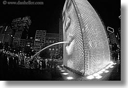 america, black and white, chicago, childrens, crown fountains, fisheye lens, fountains, horizontal, illinois, millenium park, nite, north america, people, spewing, united states, water, photograph