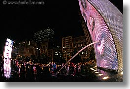 america, chicago, childrens, crown fountains, fisheye lens, fountains, horizontal, illinois, millenium park, nite, north america, people, spewing, united states, water, photograph