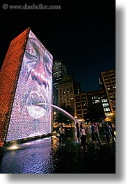 america, chicago, childrens, crown fountains, fountains, illinois, millenium park, nite, north america, people, spewing, united states, vertical, water, photograph