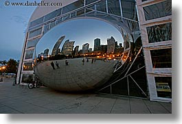 america, artwork, chicago, cityscapes, clouds, construction, dusk, horizontal, illinois, long exposure, millenium park, north america, reflections, the cloud, united states, photograph