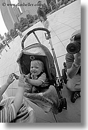 america, artwork, babies, black and white, boys, chicago, illinois, jacks, millenium park, north america, reflections, reflecton, the cloud, united states, vertical, photograph