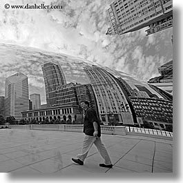 america, artwork, black and white, chicago, cityscapes, illinois, men, millenium park, north america, passing, people, reflections, square format, the cloud, united states, photograph