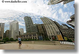 america, artwork, chicago, cityscapes, horizontal, illinois, millenium park, north america, passing, people, reflections, the cloud, united states, photograph