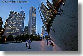 america, artwork, chicago, cityscapes, dusk, horizontal, illinois, millenium park, north america, passing, people, reflections, slow exposure, the cloud, united states, photograph