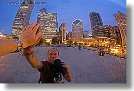 america, artwork, chicago, cityscapes, dusk, horizontal, illinois, long exposure, men, millenium park, north america, reflections, self, self-portrait, the cloud, united states, photograph
