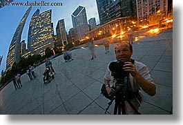 america, artwork, chicago, cityscapes, dusk, horizontal, illinois, men, millenium park, north america, reflections, self, self-portrait, slow exposure, the cloud, united states, photograph