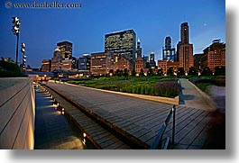 america, chicago, cityscapes, horizontal, illinois, millenium park, nite, north america, slow exposure, united states, walkway, photograph