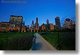 america, chicago, cityscapes, gardens, horizontal, illinois, millenium park, nite, north america, slow exposure, united states, photograph