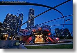 america, chicago, cityscapes, horizontal, illinois, millenium park, nite, north america, pavilion, pritzker, slow exposure, united states, photograph